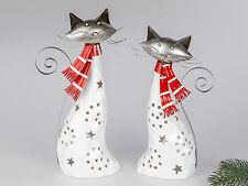 Modernes Windlicht Kerzenständer Katze aus Keramik und Metall Höhe 30 cm