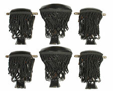 Set of 6 Pool Table Billiard Pockets With Fringe Black