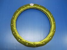 Dark Green Plush Style Luxury Crystal With Crown Badge Car Steering Wheel Cover