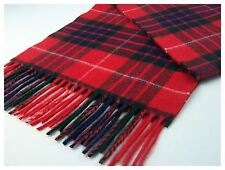 Highland Tweeds LUXURY LONG LAMBSWOOL SCARF Red Fraser TARTAN CHECK British made