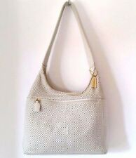 Tignanello White Summer Loving Perforated  Leather HOBO/SHOULDER BAG PURSE MED
