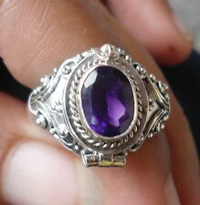 925 Sterling Silver-PRM10-Bali Carved Poison/Wish Locket Ring & Amethyst Size 7