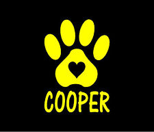 PAW WITH HEART PERSONALIZED Dog Cat Pet Vinyl Decal Car Window Bumper Sticker
