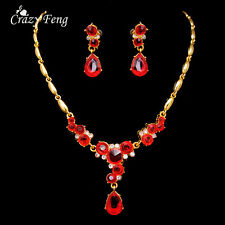 Women Gold Plated Red Zircon Wedding Jewelry Sets Vintage Necklace Earrings Sets