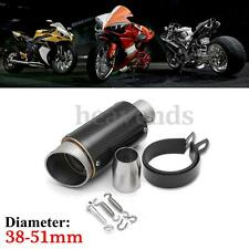 38-51mm Universal Motorcycle Carbon Fiber Cylinder Exhaust Muffler Pipe 245mm