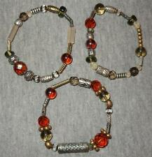PREMIER DESIGNS 3 PC RIVIERA BRACELET SET SILVER PLATE AMBER BROWN GLASS BEADS