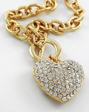 Designer Gold Clear Rhinestone Pave Heart Toggle Chain link Necklace JEWELRY