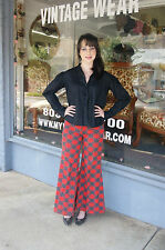 Vintage 60's 70's Ladies Mod Hippie Red Plaid Bell Bottom Knit Pants - Size S/M