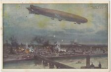 German WW1 Postcard, Zeppelin Airship, Bombing Warsaw, Great War 1915 (193)