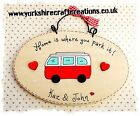 PERSONALISED RED Camper Van Sign Home Is Where You Park It Volkswagen Style