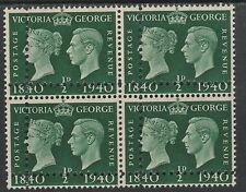 Great Britain   2911 - 1940 Centenary 1/2d DOUBLE PERFS block unmounted mint