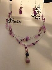 Lot 227S Lane Bryant - Purple Bead & Silver Necklace and Earring Set