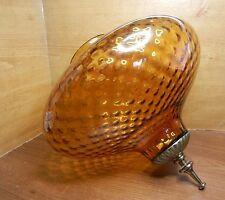 "LARGE VINTAGE AMBER OPTIC GLASS GLOBE SHADE w/ FINIAL 11-1/4""H 3-7/8""F 11-1/2""W"