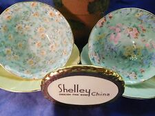 SHELLEY  MARGUERITE AND MELODY CHINTZ  FOOTED OLEANDER CUPS & SAUCERS - WOW!
