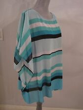 NWT MICHAEL KORS TURQUOISE/GREEN STRIPED DOLMAN BLOUSE/TOP MSRP $99.50