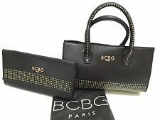 NEW! BCBG Paris Duo!! Black Satchel/Crossbody And Clutch Bag Gold Studded