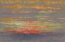 SUNSET LANDSCAPE Watercolour Painting MARCUS ADAMS 1956 IMPRESSIONIST