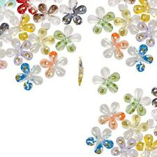 24 Big 30mm Assorted Plastic Acrylic Center Hole Flower Beads W/ Gold Glitter