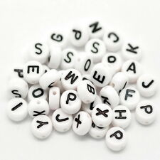 "400Pcs White Mixed Letter/ Alphabet Acrylic Beads For Bracelet DIY 7mm(1/4"")"