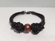 Pulsera Cuero + Perla Color Chocolate - Leather & Brown Pearl Bracelet