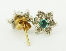 Sweet Flower Design 9ct Gold Diamond &  Emerald Earrings. NICE1