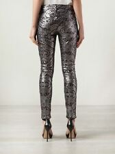 Seven 7 For All Mankind $295 Skinny Jeans Pants Floral Silver Sequin 26-27 Small