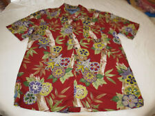 Tommy Hilfiger bamboo red Mens short sleeve button up shirt M EUC @