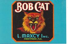 """FROSTPROOF,FLORIDA-BOB CAT-L.MAXCY-CRATE LABEL-1930-REPRO-4""""X6""""(DV-444*)"""