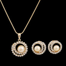 Pearl Necklace Earring Set Gold Silver Pendant Chain Crystal Jewelry Sets