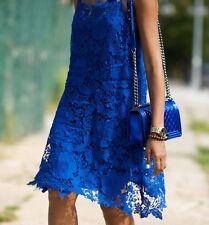 ZARA Cobalt Electric Blue Crochet Lace Summer Dress S 8 10 BNWT
