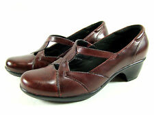 Clarks Heels Pumps Mary Janes Shoes Womens 7.5 W Wide Red Burgundy Wine Leather