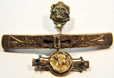 3 Antique Jewelry Victorian Rare Lapel Pins Egyptian, Bar & Stick Pin Pins