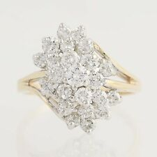 Diamond Cocktail Bypass Ring - 14k Yellow & White Gold Tiered Cluster 1.50ctw