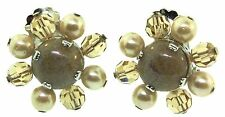 1960 CHRISTIAN DIOR Taupe Art Glass Crystal Bead Fx Pearl Flower CLIP EARRINGS