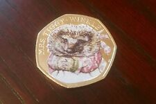 BEATRIX POTTER Miss Tiggy Winkle 50p Coin Coloured Decal Enamel Gloss Uncirc