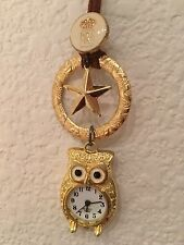 Novel Design Owl Leather Strap Charm Necklace Made in Taiwan Mixed theme Gold