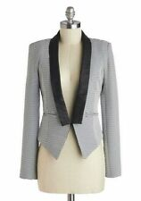 Ark&Co. Modcloth Black White Striped Guest Conductor Blazer Siz M Faux Leather