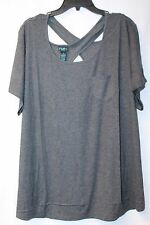 COOL CUTE NEW WOMENS PLUS SIZE 2X CHARCOAL GRAY GREY CROSS X BACK TEE SHIRT TOP