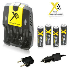 4 AA Rechargeable Batteries 3100mAh+Home & Car Charger High Capacity WALL PLUG