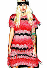 NEW NWT $258 FOR LOVE & LEMONS CROSBY FRINGE PINK MULTI SWEATER DRESS RARE M - L