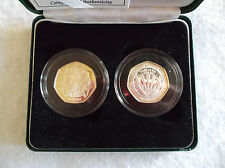 1998 SILVER PROOF FIFTY PENCE COIN SET 25TH ANNIVERSARY EEC & 1948-98 NHS COIN