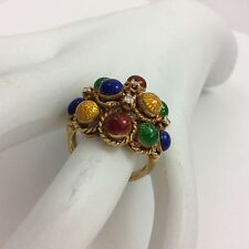 18K YELLOW GOLD MULTI COLOR ENAMEL RING