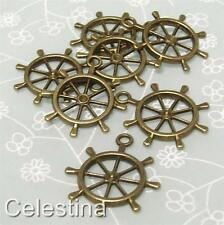 10 x Antique Bronze Ships Wheel Steampunk Charms - Pendants -29mm