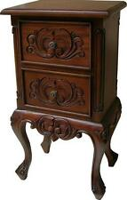 French 2 Drawer Bedside Table Cabinet Solid Mahogany H73 x W40 x D30cm NEW BS007