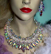 Rhinestone Austrian Crystal Choker Necklace Earring Set AB Large Pageant Drag