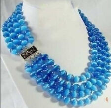 RARE 4 ROWS 8MM BLUE REAL OPAL JADE BEAD NECKLACE