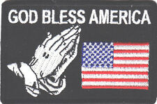 """GOD BLESS AMERICA"" w/USA FLAG & PRAYING HANDS-Iron On Patch/Patriotic,Religious"