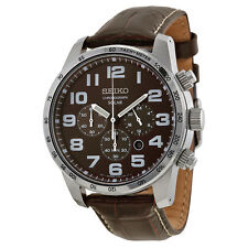 New Seiko SSC227 Solar Brown Dial Chronograph Brown Leather Strap Men's Watch