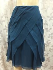 NWT- WORTH - Silk Skirt - Wrap Tier Ruffle - Chiffon - Cobalt Blue - Sz 4