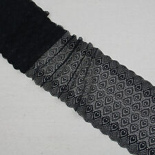 1 Yard Black Bilateral Scalloped Stretch Lace Trim For Craft Lingerie Wide6 3/4""